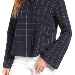 Madewell Women's Banded Collar Bell Sleeve Blouse
